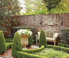 10 Ways to Create a Backyard Getaway Brick garden wall and formal gardens Small Courtyard Gardens, Formal Gardens, Small Gardens, Outdoor Gardens, Outdoor Rooms, Modern Gardens, Garden Modern, Boxwood Garden, Brick Garden
