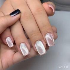 Blush Pink Nails, Cute Pink Nails, Pink Nail Art, Purple Nails, Green Nails, Nude Nails, Pretty Nails, Gold Gel Nails, Glitter French Nails