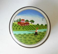 Items similar to Villeroy and Boch Luxembourg 'Design Naif' Covered Trinket Dish signed LaPlau 1 on Etsy