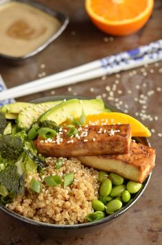 Quinoa Sushi Bowl with Baked Tofu