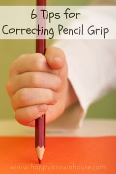 6 Tips for Correcting Pencil Grip Does your child hold a pencil funny? Are you trying to teach a child how to cold a pencil correctly? These 6 Tips for Teaching Correct Pencil Grip with helpful how-to tutorial videos can help! Preschool Writing, Preschool Learning, Early Learning, In Kindergarten, Preschool Activities, Physical Activities, Dementia Activities, Name Writing Activities, Teaching Kids To Write