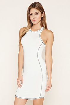 Topstitched Bodycon Dress