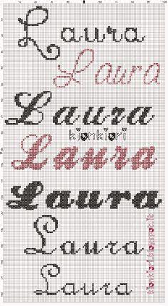 Mi sono forse rimessa in pari? Ne dubito fortemente. Di sicuro manca Maria Francesca... non ho idea che dimensioni servano, quindi... Creative Names, Simple Embroidery, Diy And Crafts, Cross Stitch, Cross Stitch For Baby, Embroidery Stitches, Punch Needle, Girl Names, Hand Lettering
