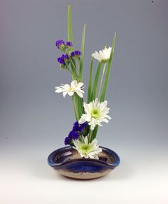 Ikebana Vase - Flower Tray - Flower Dish- Handmade Stoneware with Blue Glazed Rim
