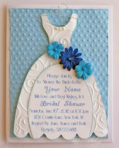 cricut bridal shower invitation | Here is a close-up shot of the embossing, flowers, pearls and hanger ...