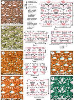 Crochet s tiches Crochet Stitches Chart, Crochet Motifs, Granny Square Crochet Pattern, Crochet Borders, Crochet Diagram, Afghan Crochet Patterns, Crochet Doilies, Crochet Lace, Stitch Patterns