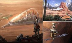 Stunning drawings reveal what a future colony on Mars might look like, By Swedish concept artist Ville Ericsson. Mars, World Of Tomorrow, What The World, Amazing Drawings, Space Exploration, Sci Fi Art, Ufo, Futuristic, Colonial