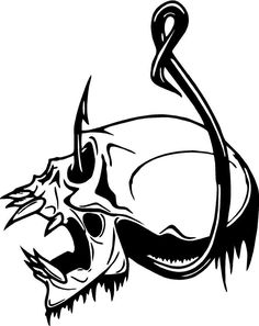 $4.95 - Shull Fishing Hook Teeth Hair Vinyl Decal Sticker 4295 #ebay #Home & Garden Skull Stencil, Skull Art, Fish Drawings, Art Drawings, Fish Art, Fish Hook, Silhouette Projects, Vinyl Decals, Car Decal