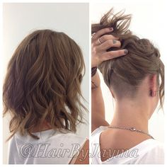 Wavy bob and undercut #hairbyjayma