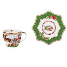 "Ceasca cu farfurioara din portelan ""Vintage Christmas"" 250 ml - Nuova R2S"
