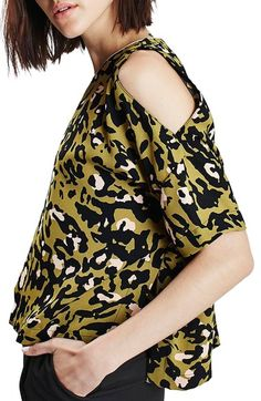 Topshop Leopard Print Cold Shoulder Tee available at #Nordstrom