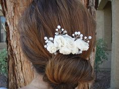 Bridal Pure Silk Ivory /Cream Roses and Pearls Hair Comb