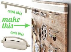 fabric wrapped foamboard? with drawer pulls and knobs for jewelry storage