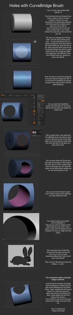 Zbrush tut: Make holes in Zbrush without dynamesh by Dantert