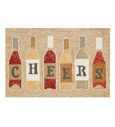 Cheers Wine Bottles Indoor/Outdoor Rug  $49.95 http://www.plowhearth.com/mudroom.htm#pageSize=1000&sort=BPA&page=1&brand=
