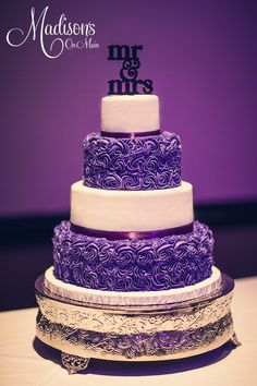 Buttercream rosettes in purple, with smooth white buttercream.