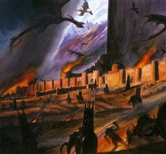 LOTR Concept Art by Alan Lee and John Howe Gandalf, Aragorn, Legolas E Gimli, Minas Tirith, Alan Lee, Fantasy Concept Art, Fantasy Artwork, Lotr, John Howe