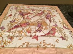 Beautiful Hand Roll 100% Silk Salvatore Ferragamo Scarf With Birds And Butterfly…