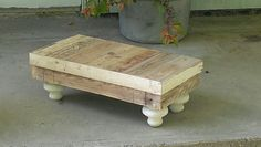 Handmade shabby footstool made from pallet wood.