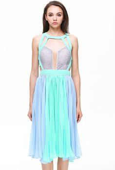 Multicolor Colorblock Backless Pleated Dress @ ROMWE $45 CUTE