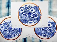 Moth on Blossom Flowers, Blue and Copper Lino Print by Tempest Elliot Printshop