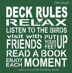 DECK Rules STENCIL Relax Friends Listen Bird Enjoy Moment Book Subway Art Signs #StencilsbyJoanie