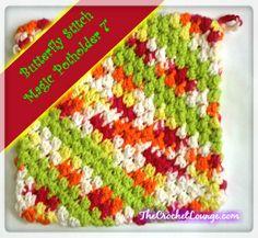 "Butterfly Stitch Magic Potholder 7"" | Free Crochet Magic Potholder Pattern | Crochet Kitchen Essentials"