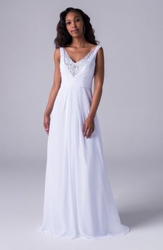 A-line chiffon dress with beaded panel on center front neckline Wedding Dresses South Africa, Perfect Wedding Dress, Chiffon Dress, Dress For You, Wedding Gowns, Wedding Stuff, Wedding Ideas, Neckline, Bride