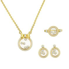 Chopard 'Happy Diamonds' Yellow #Gold 3 Piece Set: #Necklace, #Earrings, and #Ring