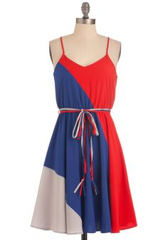 Worth a Tricolor Dress - Mid-length, Red, Blue, Grey, Color Block, Casual, Sheath / Shift, Spaghetti Straps, Summer, Belted