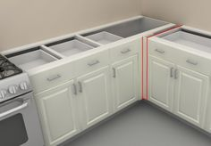 panel at blind corner for counter support - ikea