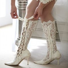 Women's White Lace Bridal Heels Floral Stiletto Heel Knee High Wedding Boots for Wedding   FSJ 魅せる靴*ジミー・チュウのウェディングシューズに憧れる♡にて紹介している画像 #ウェンディング ##ウェディングヘア #ウェディングドレス選び #ウェディング撮影 #ウェディングレポート #ウェディングギフト #ウェディングドレス #ウェディングフラワー #ウェディングソムリエ #ウェディングフェア #ウェディングムービー #ウェディングお譲り #ウェディングボード #ウェディングボード #ウェディングボード#ウェディングボード #ウェディングボード #ウェディングボード #ウェディングヘア #結婚式 #二次会 #お花嫁 #Wedding #weddingheels #weddingwear #weddingshoes #Weddingidear White Bridal Shoes, Bridal Wedding Shoes, Wedding Boots, Bridal Heels, Bridal Lace, Wedding Dresses, Floral Wedding, Boho Wedding, Wedding Hair