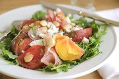 Jenny Steffens Hobick: Heirloom Tomato, Marcona Almonds, Prosciutto & Goat Cheese Salad with an Easy Lemon vinaigrette