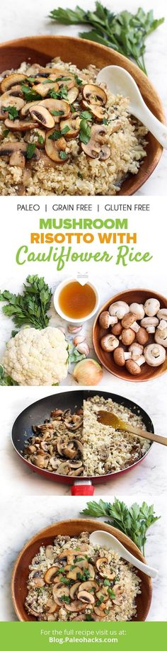 """Cauliflower rice soaks up the savory flavors of garlic and beef in this mouth-watering risotto recipe. For more Paleo recipe ideas grab our FREE """"Paleo Eats"""" cookbook (just cover shipping costs). You (Cauliflower Recipes Vegan) Low Carb Recipes, New Recipes, Vegetarian Recipes, Cooking Recipes, Healthy Recipes, Paleo Ideas, Donut Recipes, Family Recipes, Whole 30 Recipes"""