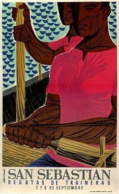 By Alberto Tienda, 1 9 5 San Sebastian Regatas. Remo, Basque Country, Rowing, Travel Posters, Disney Characters, Fictional Characters, San, Disney Princess, Painting