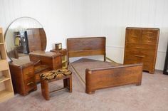 1947 Birch Art Deco Waterfall Bedroom Set For Sale 1930s Furniture, Antique Bedroom Furniture, Deco Furniture, Cheap Furniture, Wooden Furniture, Furniture Sets, Furniture Makeover, Outdoor Furniture, 1930s Home Decor