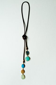Arty Necklace with semi precious stones and leather by RYjewels, €69.00