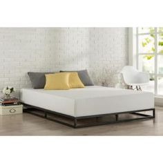 14 Inch Platforma Bed Frame / Mattress Foundation in Narrow Twin / Cot size / x / Box Spring Optional / Wood Slat Support, Queen / 6 Inch King Metal Bed Frame, Low Bed Frame, Metal Beds, Bed Frames, Best Platform Beds, Metal Platform Bed, Upholstered Platform Bed, Minimal Bed Frame, Grand Noir