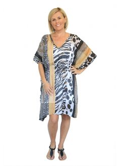 CLOTHING :: Monochrome & Animal Kaftan Dress -