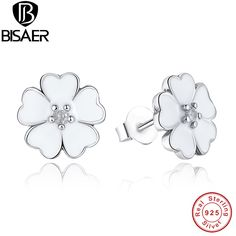 Hot 925 Sterling Silver Primrose Flower Stud Earrings White Enamel  Jewelry with Cubic Zirconia WEUS402 #Affiliate