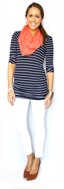 Navy striped shirt and white pants.