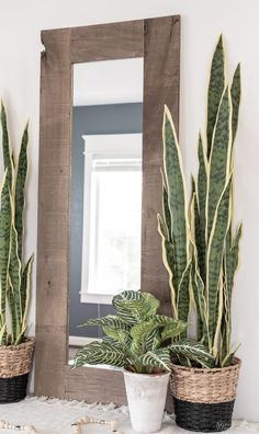 This DIY Rustic Mirror Frame is big on looks and rustic charm but small on effort and price! Farmhouse Mirrors, Rustic Mirrors, Cool Mirrors, Vintage Mirrors, Rustic Farmhouse, Hallway Mirror, Frame A Mirror, Mirror House, Diy Flooring