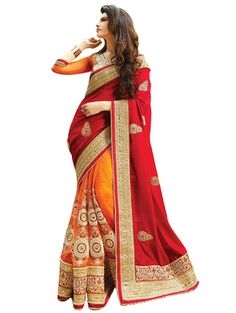 Georgette Red & Orange Coloured New Trend Charming Sarees Bollywood Sarees Online on Shimply.com