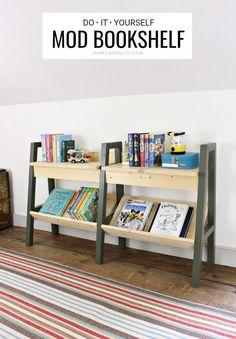 How to make a Mid-Century Modern DIY bookshelf - free plans