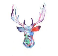Original watercolor Christmas Card Reindeer by MilkFoam on Etsy, $15.00