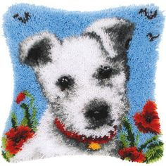 Puppy Latch Hook Cushion Embroidery Hand Rug Kits Cross