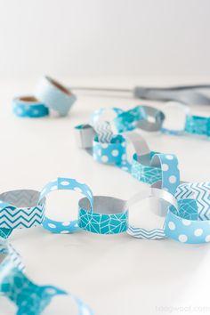 DIY washi tape paper chain for decor