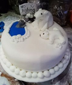 Christmas cake handcrafted polar bears and seal! loved doing this cake!