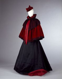 Cape 1894 Red silk velvet shoulder cape trimmed with silk ribbons and black lace, accented with jet beads