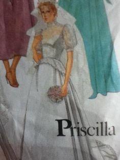 Vtg 80s Priscilla Wedding Dress Gown Brides Bridesmaids Dress